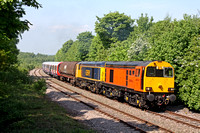Orange livery 20314 & GBRf livery 20901 tnt 66739 at rear not seen at Hicks Lodge, Willesley Woodside, near Moira on 16.5.14 with 7X23 0933 Derby Litchurch Lane - Old Dalby S Stock move