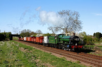 GWR Hall Class 4-6-0 No 6960 'Raveningham Hall' passes a lovely Spring like Woodthorpe on 18.4.15 with 1620 Loughborough - Swithland goods service at the GCR Railways at Work Weekend.