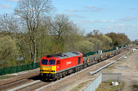 60044 'Dowlow' drifts past Stenson Junction on 19.4.16 with 6X01 1017 Scunthorpe Trent T.C. - Eastleigh East Yard short welded rail train