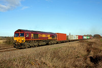 66221 is seen at Branston, Burton Upon Trent  on 3.12.14 with 4L07 1138 Burton Ot W Yd Maurice H - Felixstowe South Intermodal