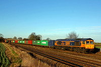 GBRf 66759 'Chippy' passes Thurmaston, MML  heading towards Leicester on 4.2.17 in charge of 4M23 1034 Felixstowe North - Hams Hall nicely loaded liner in low winters sun
