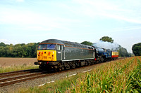DCRail 56312 with 60163 'Tornado' and support coach at East Goscote heading towards Syston East Junction on 23.9.14 with 5Z63 1000 Orton Mere, NVR - Barrow Hill L.I.P. move