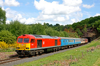 DB Cargo 60100  was a guest at the SVR Spring Diesel Festival 2017. On 18.5.17 it heads 1325  Kidderminster - Bewdley shuttle  service away from Foley Park Tunnel