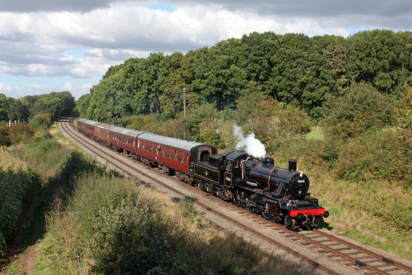 Immaculate BR Standard Class 2MT 2-6-0 No.78018 working on its first public day since overhaul  at Kinchley Lane  on 6.10.16 with 1345 Loughborough - Leicester North service at GCR Autumn Steam Gala 2