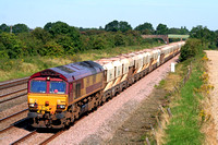 66140 at Cossington, MML heading towards Syston East Junction on 23.8.07 with 6L41 0925 Mountsorrel Sdgs - Barham loaded 4 wheel hoppers